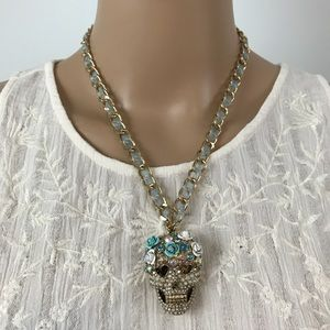 Betsey Johnson Skulls And Roses Pendant Necklace
